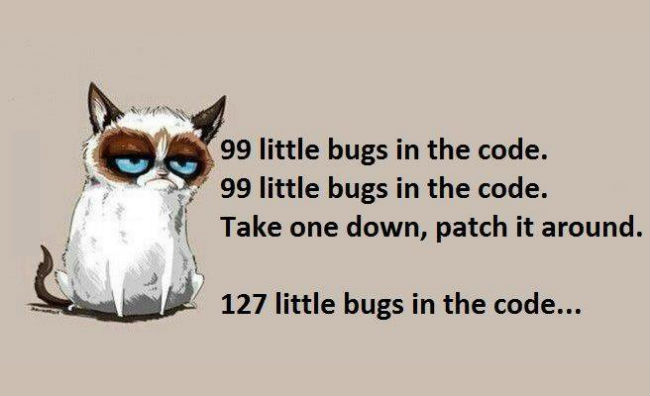 Photo via http://weknowmemes.com/wp-content/uploads/2014/04/99-bugs-in-the-code.jpg featuring Grumpy Cat.