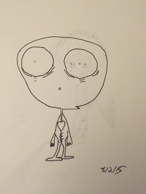 Self Portrait: Me prior to the end of September. (jk, it's just a weird alien.)